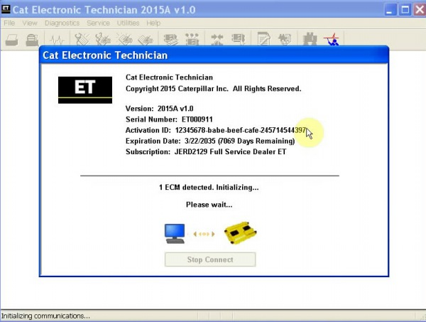 Echte Adapter III Softwarevertoning 2 van 2015A Caterpillar ET3